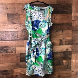 Ellen Tracy Vibrant Tropical Print Business Dress
